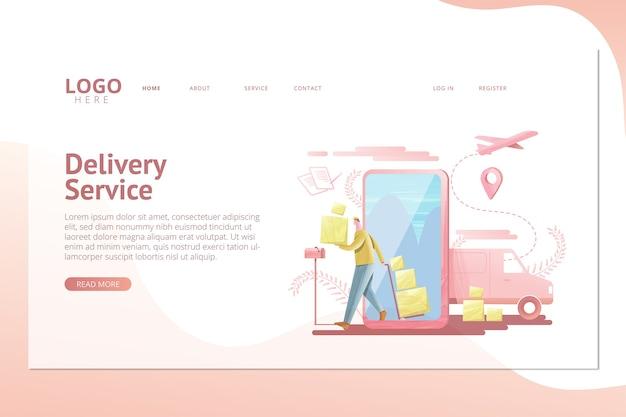 Modelo de página inicial de serviço de entrega