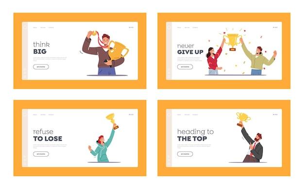 Modelo de página inicial de sucesso de projeto de equipe de negócios
