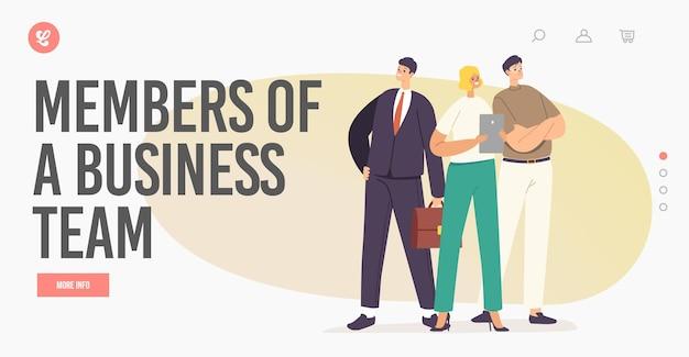 Modelo de página inicial de sucesso empresarial. caráter de pessoas de negócios bem-sucedidos vestindo escritório desgaste ficar com braços akimbo, rejoice. liderança corporativa, conceito de trabalho em equipe. ilustração em vetor de desenho animado