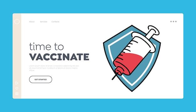 Modelo de página inicial de tempo para vacinar