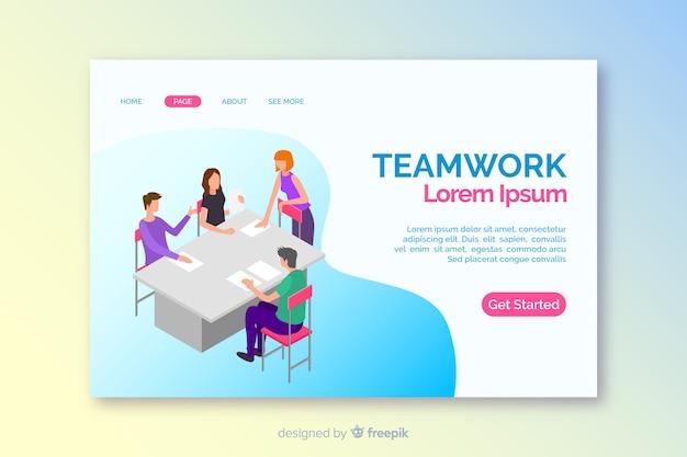 Modelo de página inicial de trabalho em equipe isométrica