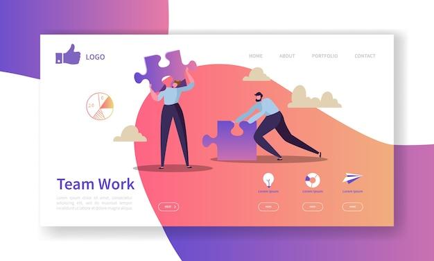 Modelo de página inicial de trabalho em equipe