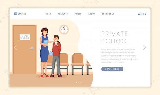 Modelo de página inicial de vetor de escola de elite