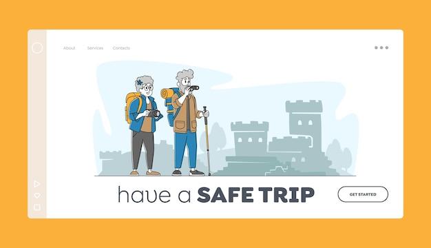 Modelo de página inicial de viagens de pessoas idosas.