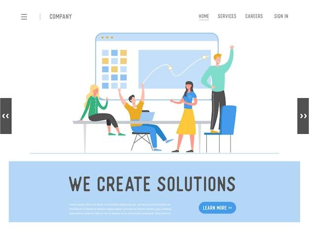 Modelo de página inicial do conceito de trabalho em equipe de reunião de negócios. homem de negócios e personagens de mulher, colegas comunicando-se, brainstorming, ideia de discussão para o site ou página da web.