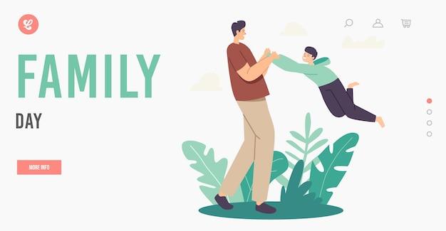 Modelo de página inicial do dia da família. feliz pai personagem girando e girando filho ao redor no ar, pai brincando com a criança. diversão ao ar livre em família, lazer de fim de semana. ilustração em vetor desenho animado