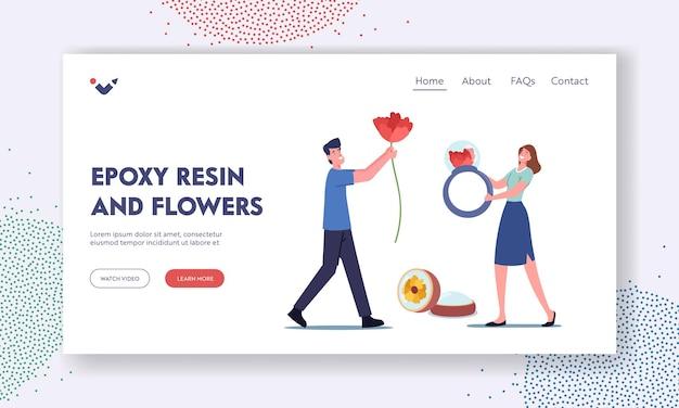 Modelo de página inicial do hobby da criação de joias de resina epóxi artesanal. personagem masculino carrega flores para fazer decoração de artesanato, mulher pequena segurando um anel enorme, arte criativa. ilustração em vetor desenho animado