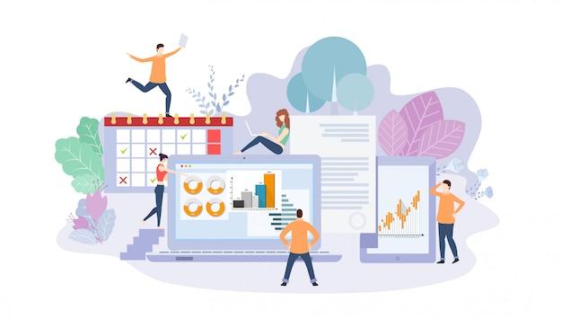 Modelo de página inicial do marketing de mídia social. o moderno design plano site web design e site móvel. conceito de trabalho em equipe e negócios. ilustração vetorial