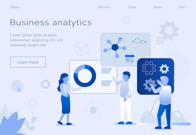 Modelo de página inicial do processo de equipe do business analytics