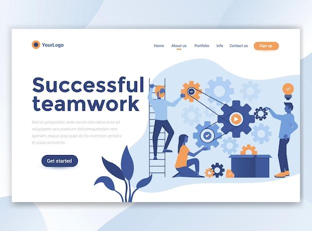 Modelo de página inicial do trabalho em equipe bem-sucedido. design plano moderno para site