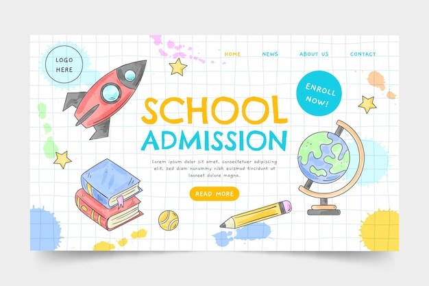Modelo de página inicial em aquarela de volta às aulas