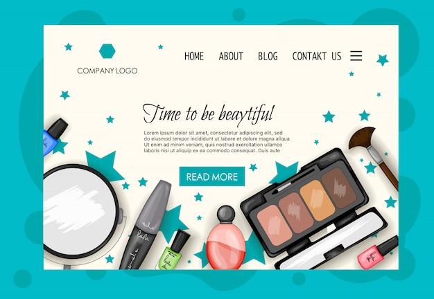 Modelo de página inicial para salões de beleza, lojas de cosméticos. estilo dos desenhos animados.