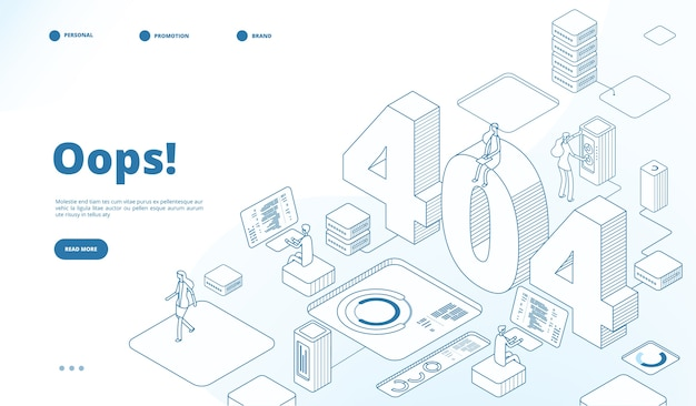 Modelo de página isométrica 404