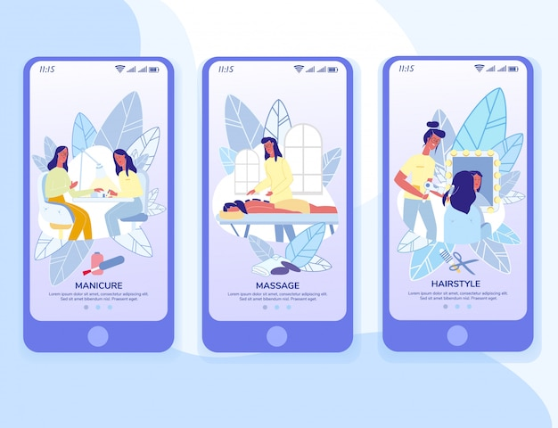 Modelo de páginas de aplicativos móveis do onboarding de produtos de beleza