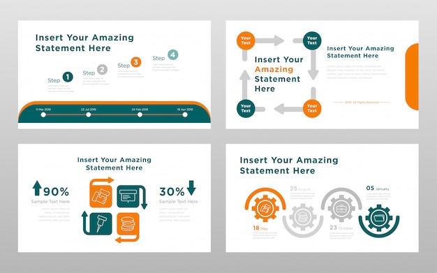 Modelo de páginas de apresentação de powerpoint de conceito de negócio colorido laranja verde