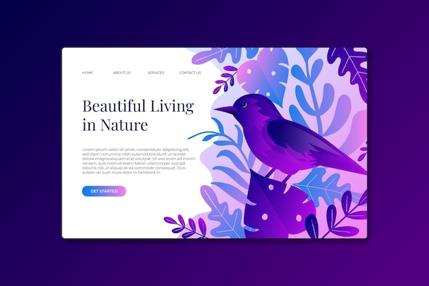 Modelo de páginas de destino da natureza