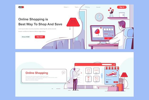 Modelo de páginas de destino de compras online usado como cabeçalho