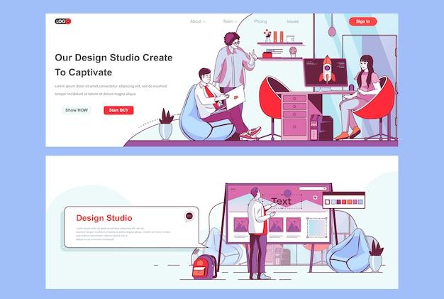 Modelo de páginas de destino do design studio para uso como cabeçalho