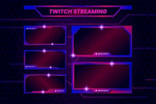 Modelo de painéis de fluxo do twitch