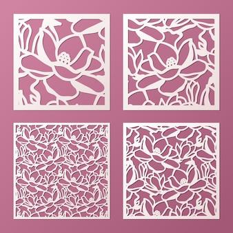 Modelo de painéis ornamentais a laser e cortado com padrão de flores de magnólia. painel de fretwork do gabinete. painel de metal lasercut. escultura em madeira.