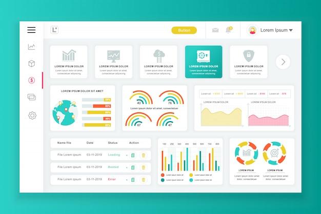 Modelo de painel de administração do painel com elementos de infográfico