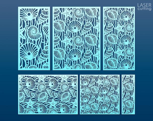 Modelo de painel de corte a laser definido com padrão de conchas e estrelas. elementos decorativos para design de interiores em estilo marinho.