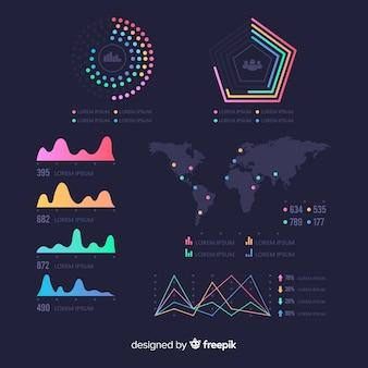 Modelo de painel de estatísticas infográfico