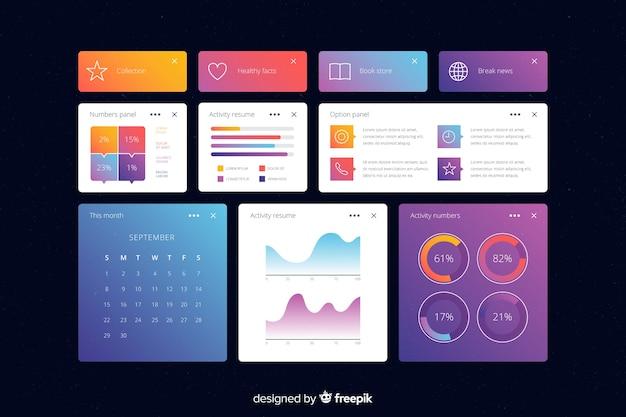 Modelo de painel de gráficos informativos de negócios