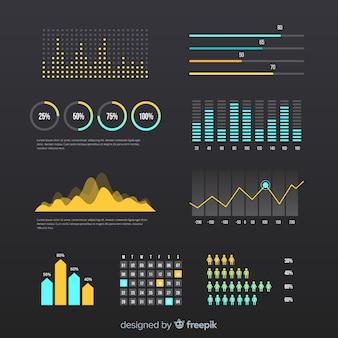 Modelo de painel de progresso de infográfico