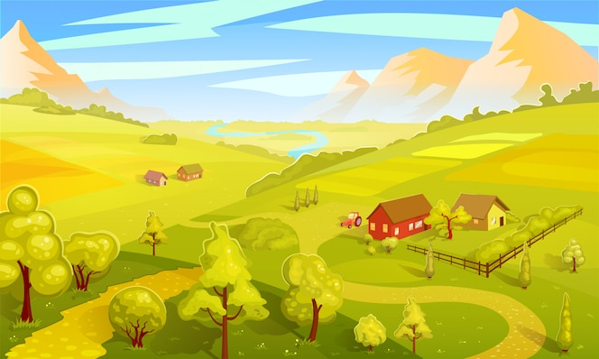 Modelo de paisagem colorida de verão