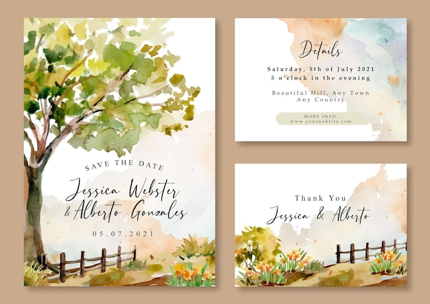 Modelo de paisagem de árvores e campo em aquarela de convite de casamento