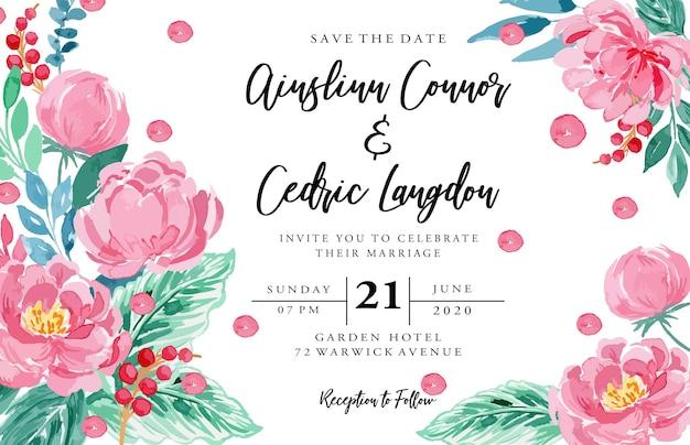 Modelo de paisagem de cartão de convite floral aquarela peônia rosa rosa