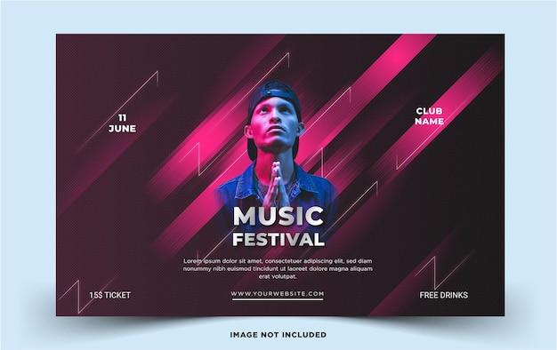 Modelo de paisagem de festival de música moderna modelo de vetor premium