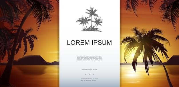 Modelo de paisagem de natureza tropical com silhuetas de palmeiras no mar e ilustração vetorial de fundo por do sol