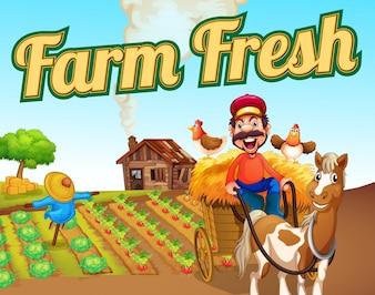 Modelo de paisagem fresca de fazenda