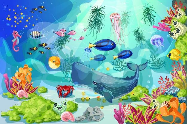 Modelo de paisagem subaquática marinha de desenho animado