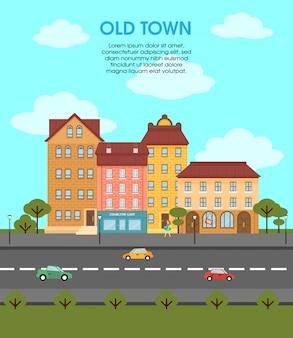 Modelo de paisagem urbana plana colorida