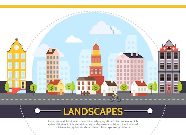 Modelo de paisagem urbana plana de verão com edifícios modernos, árvores do céu e homem andando de bicicleta na estrada.