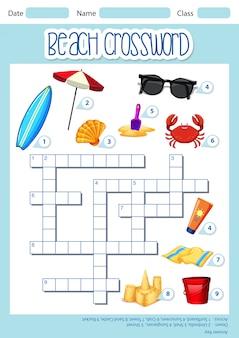 Modelo de palavras cruzadas de elemento de praia