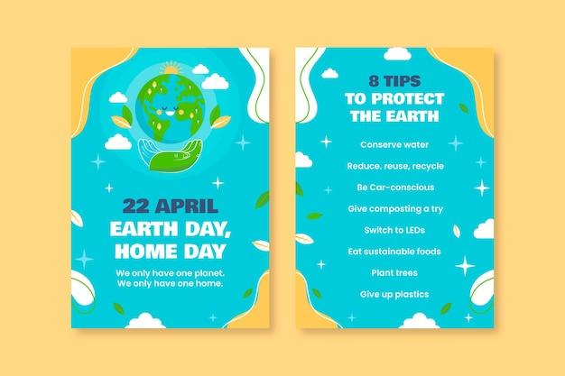 Modelo de panfleto colorido engraçado da natureza do dia da terra