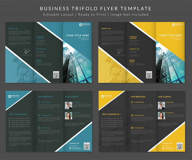 Modelo de panfleto com três dobras de negócios premium