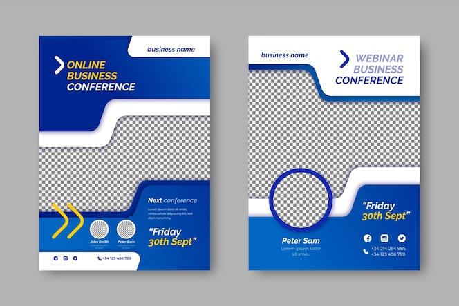 Modelo de panfleto comercial com espaço transparente para foto