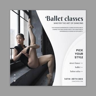 Modelo de panfleto dançando com foto