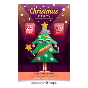 Modelo de panfleto de árvore legal de festa de natal