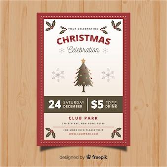 Modelo de panfleto de árvore vintage de festa de natal