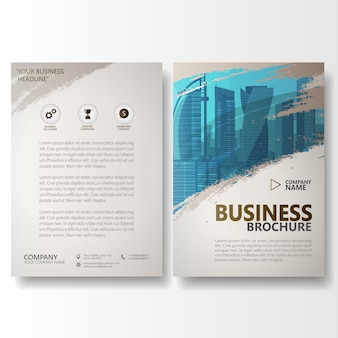 Modelo de panfleto de brochura de relatório anual de traçado de pincel aquarela