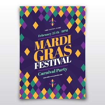 Modelo de panfleto de carnaval flat mardi gras