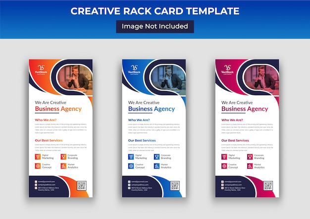 Modelo de panfleto de cartão ou dl de negócios, cartão corporativo de rack