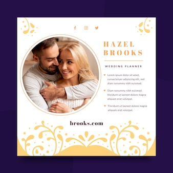 Modelo de panfleto de casamento com foto