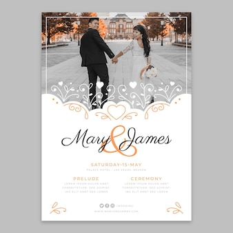 Modelo de panfleto de casamento fofo